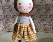 Handmade grumpy bear doll with bag