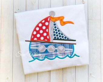 Sail boat shirt or bodysuit- Boat shirt- Summer boating shirt- Boy's Summer Vacation shirt- Boy's Sail boat shirt- Nautical- Summer Boy