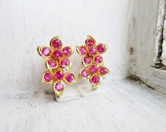RESERVED- Vintage 8K Gold Double Flowers Dark Pink Earrings