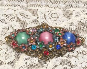 gORgEoUs Antique ART nouveau   Czech glass pin/brooch