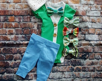 Baby Boy Newborn Coming Home Outfit Set. Cardigan Bodysuit, Bow Tie Bodysuit, Blue Pants & Newsboy Hat. Baby Shower Gift. Gender Reveal