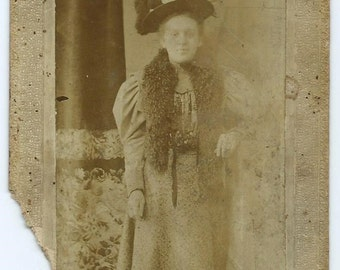 Antique Cabinet Card Photo of Woman in Fancy Hat & Fur Stole, 1800s Victorian