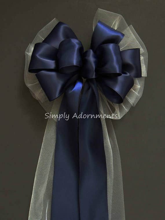 Navy White Wedding Bow Navy White Pew Bow Navy Wedding Aisle Decorations Navy Wedding Church Pew Bow Navy White Wedding Ceremony Decoration