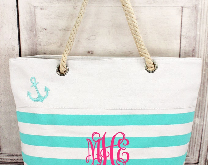 Nautical Stripe Tote Bag, Monogrammed Tote Bag, Preppy Stripe Tote Bag, Bridesmaid Gifts, Personalized Gifts, Personalized Tote Bag