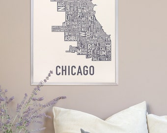 Chicago Neighborhood Map Poster, The Original Chicago Neighborhood Type Map Print, Chicago Map Artwork, Chicago Poster, Chicago Gift