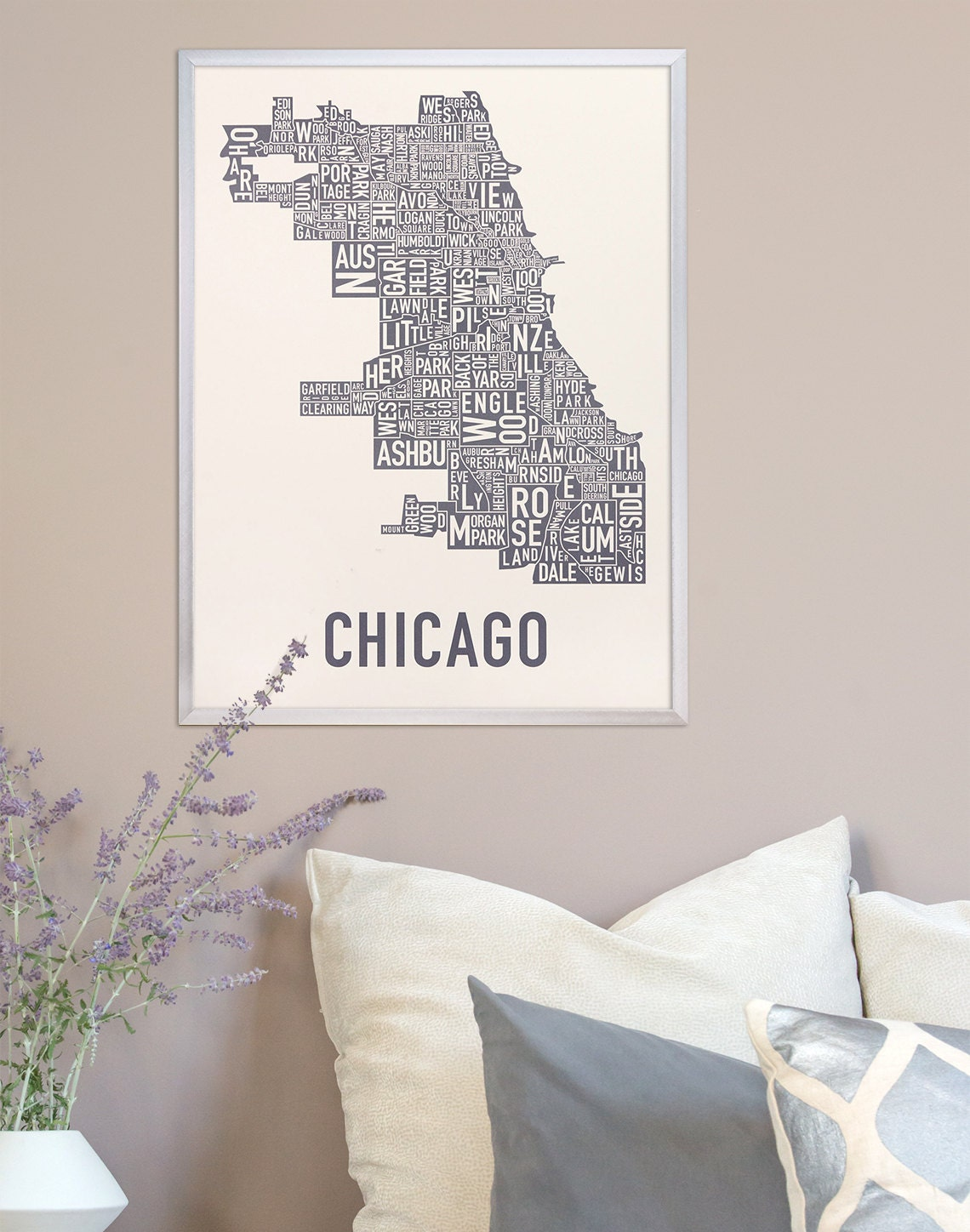 Chicago Neighborhood Map Poster Original Chicago Neighborhood - Chicago map etsy