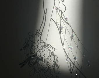 fashion illustration / original drawing / fashion sketch / glam decor / disco / ink pen glitter art