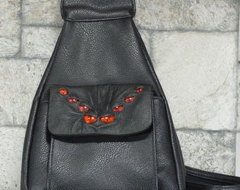 Spider Leather Backpack Purse With Face Monster Harry Potter Labyrinth Goth Black