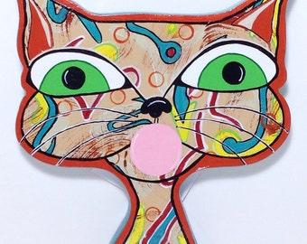 "Outsider Folk Art Cat Head, ""Bubble Gum Cat #3"", Comical Hand Painted Cat Wall Hanging, Abstract Cat Wood Wall Art by Windwalker Art"