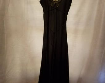 S Small Vintage 70s 80s Black Gothic Beach Disco Boogie Nights  Summer Spring Lace Butterfly Sexy Long Nightie Lingerie Nightgown