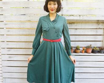 Vintage Dress/ Vintage 1970s Dress/ Vintage Japanese Dress/ Vintage Womens Dress/ Womens Dress/ Green Dress/ Green Dress/ Retro Clothing