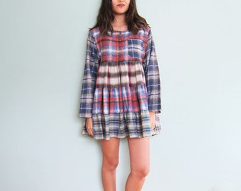 90s Dress/ Grunge Dress / Plaid Flannel Mini Dress / Long Sleeve Vintage 1990s Soft Grunge Clothing