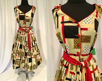 1950s - early 60's Sun Dress, Tan, Black, Red & White w Red Piping and Buttons, Reversible Fabric Tie Belt, 'Parkland Dallas' Label