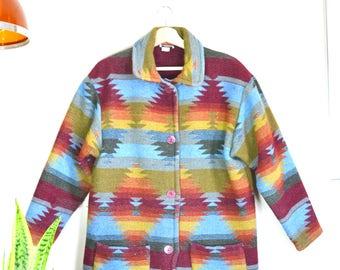 vintage southwestern geo print peacoat // 80s rainbow print jacket