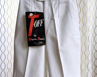 Vintage 60s white golf shorts/ T Off/ NOS Designed by Lynn Stuart for Mister Pants/ designer shorts