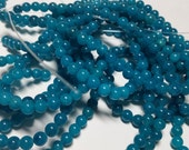 Teal Blue Apatite Candy Jade Round Ball Beads  5mm - 6mm