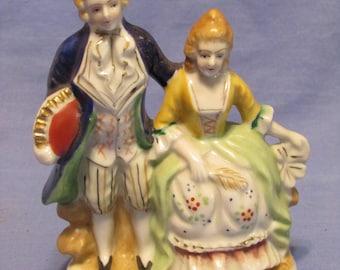 vintage  occupied japan colonial couple blonde figurine macoroni  style