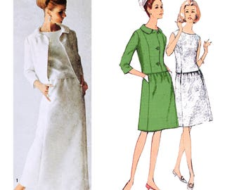 1965 Vintage Designer Fashion 2-Piece Dress and Jacket, Elegant  Evening and Cocktail Lengths, Day or Evening Suit, Simplicity 6217, Bust 32