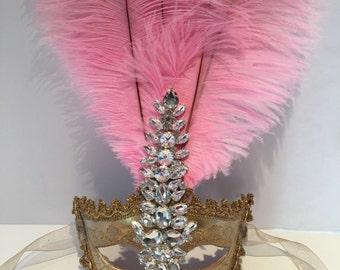 Pink Mask -Womens Mask- Masquerade Ball Mask- Costume Party Mask- Carnival Ball-Masquerade- Mardi Gras- Halloween Mask- Masq- Custom mask