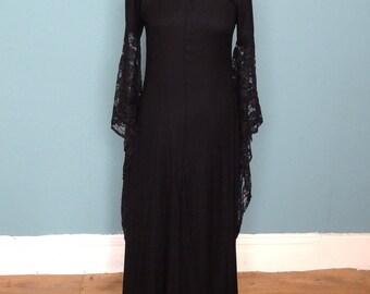 Vintage 80's / 90's Wizard Sleeve Maxi / Evening Dress UK Size 12