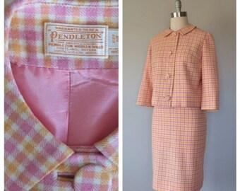 vintage 1960s wool Pendleton skirt suit size medium
