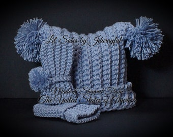 Baby Hat, Pom Pom Hat, Baby Gift, Baby Girl Hat, 0-3 Months, Handmade Baby Hat, Crocheted Baby Hat, Purple Baby Hat, Baby Gift