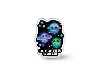 Kawaii Galaxy Pin - Geek Gift, Kawaii Jewelry, Pastel Grunge Accessories, Universe Art Planet Pin