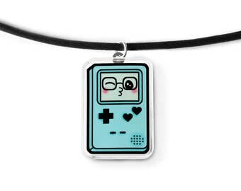 Blue Gamer Cutie Cord Necklace - Kawaii Necklace, Video Game Jewelry, Gamer Gift, Geek Gift, 90s Grunge, Pastel Grunge
