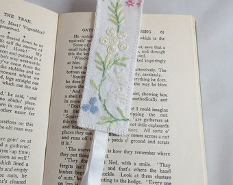 Embroidered Blue Daisy Bookmark - re-stitched from vintage table linen by Lynwoodcrafts