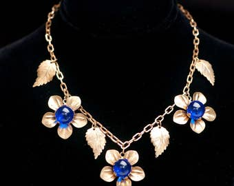 1930s Flower & Leaf Russian Gilt Floral Link Necklace Cobalt Blue Poured Glass Centers