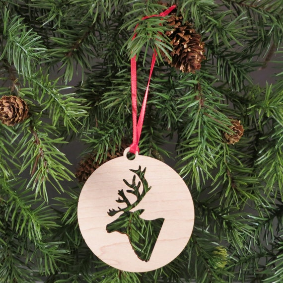 Reindeer Christmas Ornament // Deer Christmas // Wooden Hoilday Decor // Xmas Tree Ornament // Trim a Tree // Secret Santa // Hostess Gift