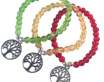 TREE OF LIFE Charm Bracelet 10 Colours 6mm Crackle Glass Beads Silver Tone Beads Meditation