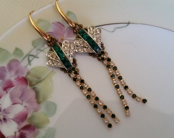 VINTAGE EMERALD GREEN Bridal Rhinestone Dangle Earrings Assemblage Art Deco Dangle Drop Gold Earrings Bride Bridesmaids Mother One of a Kind