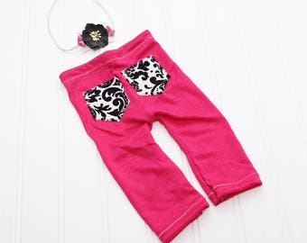 Hit the Dance Floor - newborn pants in a fuchsia hot pink knit with black and white paisley pockets  (RTS) includes coordinating headband