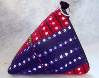Triangle Pouch,pyramid bag,hippie hand bag,Cosmetic Bag. accessory pouch,unique gift.