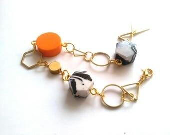 Geometric Bracelet Marble Brass Gold Hexagon Triangle Circle Orange Scandinavian Modern Design FREE UK SHIPPING