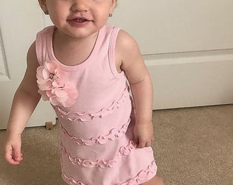Infant Layette Light Pink A-Line Sleeveless Ruffle Dress  Cotton Baby Dress with Little Chiffon Flowers