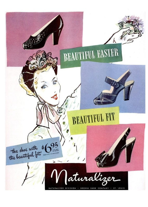 1946 Naturalizer Shoes and A&P Jane Parker Hot Cross Buns Ad Spring Millinery Floral Easter Decoration Vogue Fashion Illustration Pastel Art