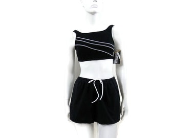NOS Swim Short Set with Cropped Top by Mainstream Black with White Piping Vintage Swimwear Old Store Dead Stock New with Tags  sz 8 #161