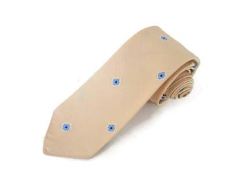 Italian Silk Neck Tie Skinny Necktie Cream with Woven Blue Flowers  NOS by Erredieci Garbo Sabban S.A