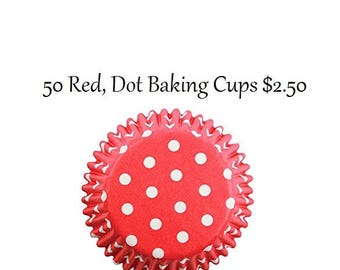 Red with White Dots Baking Cups