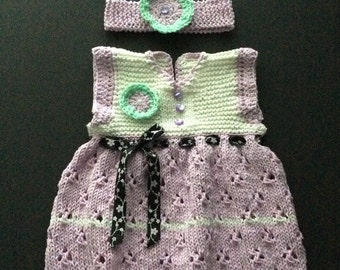 Fancy Knit Lilac Baby Dress with Ribbon , Buttons, Flower and Matching Headband