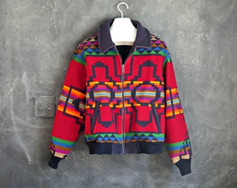 80's Pendleton Blanket Jacket. Dark Red Indian Blanket Wool Coat. Men's Pendleton Jacket. Size Large. | Curious Moose Vintage