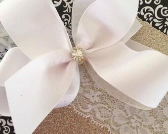 White big bow lace headband, white hair bow, white headband, flower girl headband, flower girl bow, beach bow, headband, baby, girls