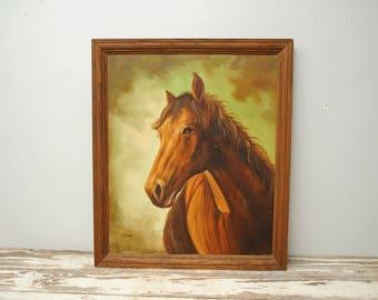 Vintage Quarter Horse Painting LARGE