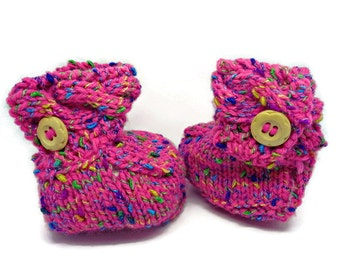 baby girl bootees, newborn bootees, pink bootees, multicolour bootees, pink pram shoes, uk baby bootees, baby booties, newborn gift