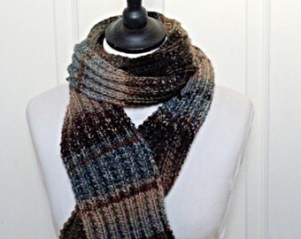 Men's knitted scarf, unisex scarf, multicolour scarf ladies scarf Winter scarf, Winter accessories, gift for him, brown ombre scarf