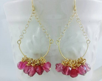 Gold Chandelier Earrings, pink beaded earrings