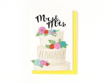 Mrs. & Mrs. - Same Sex Marriage Card - Lesbian Wedding Card - Congratulations - Gay Wedding Card - LGBT - Lesbian Bridal Shower - Engagement
