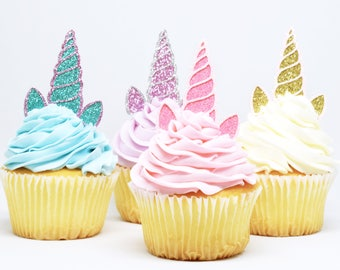 Unicorn Horn + Ears Cupcake Toppers - Glitter - First Birthday Decor. Unicorn Party Decor. Birthday Party. Bachelorette Party. Unicorn Decor